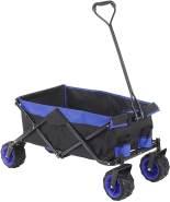 Faltbarer Bollerwagen HWC-E62, Handwagen, Geländereifen klappbar ~ ohne Hecktasche/Abdeckung schwarz/blau