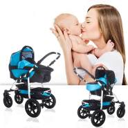 Bebebi Sidney | ISOFIX Basis & Autositz | 4 in 1 Kombi Kinderwagen | Hartgummireifen | Farbe: Great Barrier Reef