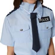 dressforfun 900268 - Mädchenkostüm Police Girl, kurzärmeliges Hemd mit Police-Aufnäher und zweistufig Geschnittener Minirock, inkl. Krawatte mit Gummizug (164 | Nr. 301484)