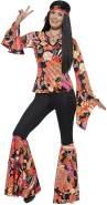 Smiffys 45516M - Damen Hippie Kostüm, Oberteil, Hose, Kopftuch und Medaillon, Größe: 40-42, mehrfarbig