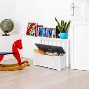 WOLTU Kindersitzbank mit Stauraum, Spielzeugkiste grau-weiß Modell Kelo