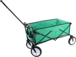 Faltbarer Bollerwagen HWC-E38, Handwagen Gartenwagen Transportwagen klappbar ~ ohne Dach/Hecktasche grün