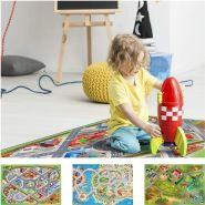 House Of Kids 11220-E3 - Playmat Quadri District Connect, 100 x 150 cm, Mehrfarbig