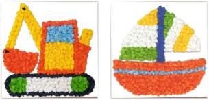 URSUS 21290005 Knüddelbilder Set, 6 Fotokarton 300 g/qm ca. 22,5 x 22,5 cm, einseitig Bedruckt Fahrzeugen, 200 Blatt Blumenseide in 10 verschiedenen Farben, weiß