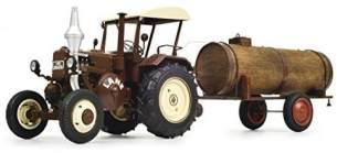 Schuco 450769900 Lanz Traktor mit Güllefaß, Bulldog mit Dach, Fassanhänger (Holz/Lasercut), Modellauto, 1:32, semi-matt braun