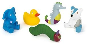 Small Foot 11169 Raupe Nimmersatt Badetiere Set aus weichem Gummi Spielzeug, Mehrfarbig