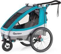 Qeridoo 'Sportrex1' Fahrradanhänger 2020, Petrol, 1-Sitzer, inkl. luftbereiftes Buggyrad