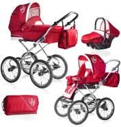 Bebebi Loving | 3 in 1 Kombi Kinderwagen Komplettset | Nostalgie Kinderwagen | Farbe: Red Ardent