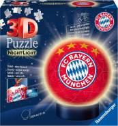 Ravensburger 3D Puzzle Nachtlicht FC Bayern München - Fanartikel für Kinder ab 6 Jahren, LED Nachttischlampe mit Klatsch-Mechanismus, Schlummerlicht