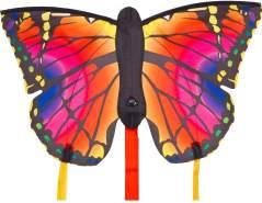 HQ 100302 - Butterfly Kite Ruby 'R' Kinderdrachen Einleiner, ab 5 Jahren, 34x52cm und 2x300cm Drachenschwanz, inkl. 10kp Polyesterschnur 25m auf Griff, 2-4 Beaufort