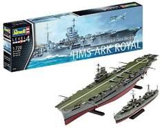 Revell Modellbausatz Schiff 1:720 - Flugzeugträger HMS Ark Royal und Zerstörer der Tribal Klasse F75 Eskimo im Maßstab 1:720, Level 4, originalgetreue Nachbildung mit vielen Details, 05149
