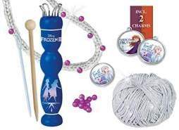 Lena 42032 - Stricklieselset Disney Frozen II, Komplettset mit Strickliesl aus Holz, Wolle eisgrau, Perlen, Anhänger und Stricknadeln, Handarbeitsset für Kinder ab 6 Jahre, Set zum Stricken Lernen