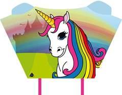 HQ100079 -Sleddy Unicorn Kinderdrachen Einleiner, ab 5 Jahren, 50x76cm und 1.9m Drachenschwanz, inkl. 17kp Polyesterschnur 40m auf Spule, 2-6 Beaufort