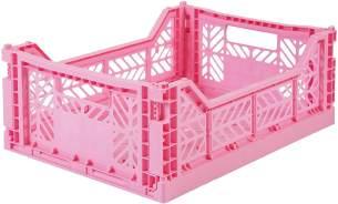 Kultige Klappkiste Midi, in Baby Pink, stapelbar, recycelbarer Kunststoff, 40 x 30 x 14,5 cm, von Ay-Kasa