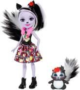 Enchantimals FXM72 - Stinktiermädchen Sage (15 cm) mit Stinktier Caper, Puppen Spielzeug ab 4 Jahren