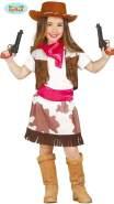 Guirca Cowgirl Kostüm für Kinder Mädchen Cowboy Western Kinderkostüm Gr. 98-146, Größe:140/146