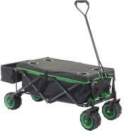 Faltbarer Bollerwagen HWC-E62, Handwagen, Geländereifen klappbar ~ mit Hecktasche/Abdeckung schwarz/grün