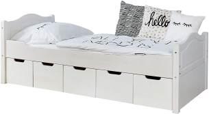 Ticaa Einzelbett 'Leni' 100x200 Kiefer massiv - mit 5er Schubkästen - weiß