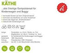 Priebes Käthe 3-teilige Gurtpolsterset Buggy Kinderwagen, Design:elefanten grau
