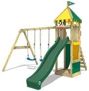 WICKEY Spielturm Klettergerüst Smart Brave mit Schaukel & grüner Rutsche, Kletterturm mit Sandkasten, Leiter & Spiel-Zubehör