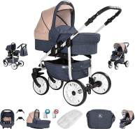 Friedrich Hugo Berlin | 3 in 1 Kombi Kinderwagen Komplettset | Luftreifen | Farbe: Dark Blue and Beige Day