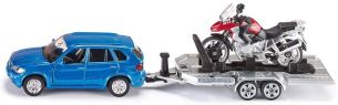 SIKU 2547, PKW mit Anhänger und Motorrad, 1:55, Metall/Kunststoff, Blau/Rot, Kippbare Ladefläche