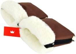 BabyLux Handmuff für Kinderwagen MUFF Reißverschluss MR15 Braun + Wolle