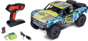 Carson 500404190 1:10 Amphi Pow.Truck 2.4G 100% RTR gelb, Ferngesteuertes Auto, RC Fahrzeug, inkl. Batterien und Fernsteuerung, Geschwindigkeit km/h, Fahrzeit 20 Minuten