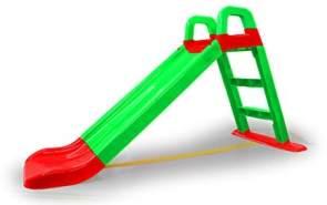 Jamara 460502 Rutsche Funny Slide grün-aus robustem Kunststoff, Rutschauslauf für sanfte Landungen, Breite Stufen und Sicherheitsgriffe, Stabilisierungsseil
