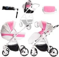 Friedrich Hugo Easy Comfort | 4 in 1 Kombi Kinderwagen + ISOFIX | Farbe: White Pink & Leatherette