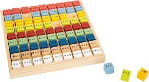 small foot 10841 Kunterbuntes 1x1 'Educate' aus Holz, mit 81 Zahlenwürfeln zum lernen des kleinen 1x1, ab 6 Jahren