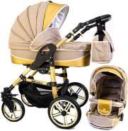 Tabbi ECO X GOLD | 2 in 1 Kombi Kinderwagen | Luftreifen | Farbe: Beige