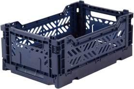 AY-KASA dunkelblaue, Faltbare Aufbewahrungsbox mit 26,6x17,1x10,5 cm und 4 Liter Volumen - Bunte Klappbox zum Einkaufen und Aufbewahren - Stabile Faltbox aus Plastik - Organizer Box