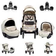Moni Kinderwagen Polly 3 in 1 Babyschale, Babywanne, Sportsitz, klappbar, Tasche schwarz