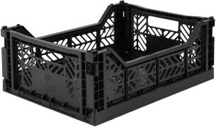 Kultige Klappkiste Midi, Black, stapelbar, recycelbarer Kunststoff, 40 x 30 x 14,5 cm, von Ay-Kasa
