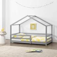 [en. casa] Hausbett hellgrau 90x200 cm, inkl. Lattenrost und Rausfallschutz
