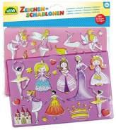 Lena 65766, 2er Zeichenschablonen Set Prinzessinnen und Elfen, 2 Schablonen mit Motiven und Farbvorlagen zu Märchenprinzessinnen und Feen, Malschablonen je ca. 26 x 19 cm, Malset für Kinder ab 3 Jahre
