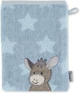Sterntaler Waschhandschuh Esel Emmi, Größe: 21 x 15 cm, Mittelblau mit Sternen