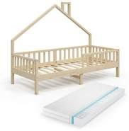 VitaliSpa 'Noemi' Hausbett weiß, 90x200cm, Massivholz Kiefer, inkl. Matratze, 2x Schubladen, Lattenrost und Rausfallschutz