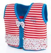 The Original Konfidence Jacket I Neopren Schwimmjacke ideal für Kinder I inkl. Baumwoll-Windel, Größe:4-5 Jahre, Design:Marthas Red Stripe Frills