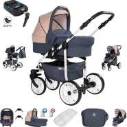 Friedrich Hugo Berlin | 4 in 1 Kombi Kinderwagen + ISOFIX | GEL Reifen | Farbe: Dark Blue and Beige Day
