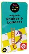 Magnetisches Reisespiel, Snakes & Ladders, Schlangen und Leitern, Spieleklassiker in praktischer Metallbox, Leiterspiel für Kinder und Erwachsene