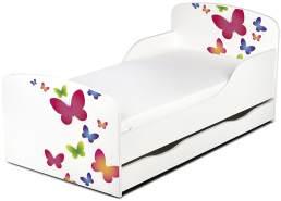 Leomark Kinderbett 70x140 cm, Schmetterlinge, mit Matratze, Schublade und Lattenrost