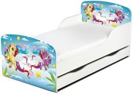 Leomark Kinderbett 70x140 cm, Pony, mit Matratze, Schublade und Lattenrost