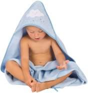 Clevamama Baby Kapuzen Handtuch - Badetuch Badeponcho als Schürze aus Baumwolle, Blau