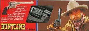 J.G.Schrödel Buntline: Spielzeugpistole für Zündplättchen, Robuste Qualität aus Zink und Kunststoff, in Box, für 12-Schuss-Munition, 26 cm, grau/ silber (205 8078)