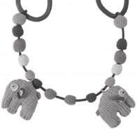 Sebra - Elefant Fanto - grau - Kinderwagenkette Wagen Kette Häkel Strick Baby Spielzeug