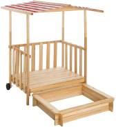 Tectake - Sandkasten und Spielveranda mit Dach rot