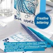 Faber-Castell 267123 Tuschestift Pitt Artist Pen Lettering, Blautöne, 6er Etui, Mehrfarbig