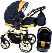 Tabbi ECO X GOLD | 2 in 1 Kombi Kinderwagen | Hartgummireifen | Farbe: Blue